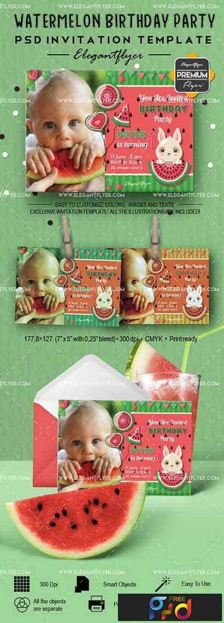 1704150 Watermelon Birthday Party – Invitation PSD Template - Free ...