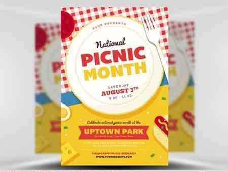 National Picnic Month Flyer Template  Free Psd Download