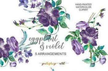 1706003 Eggplant & Violet Roses Cliparts 1808931 6