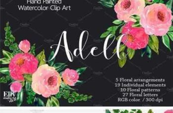 1706005 Watercolor Roses Clip Art - Adell 1780235 7