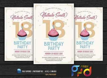 Birthday Invitation Free PSD Download Free - Birthday invitation photoshop template