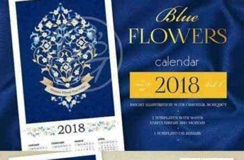 1706082 2018. Blue Flowers Calendar Vol.1 1655769 6