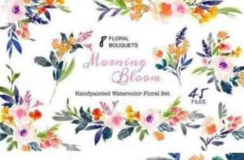 1706097 Morning Bloom-Watercolor Floral Set 429467 8