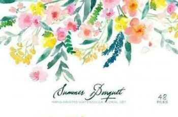 1706099 Summer Bouquet - Watercolor Clipart 371690 7