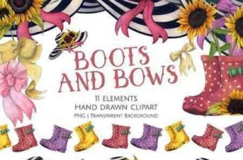 1706100 Boots and Bows Clipart Set 1573085 3