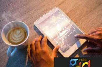 1706197 Man Using Tablet At Table Mockup 1820616 2