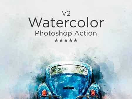 1706229 Watercolor V 2 Photoshop Action 20682494 - FreePSDvn
