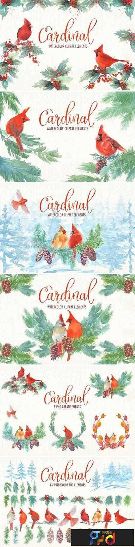 1706247 Cardinal bird watercolor clipart set 1870858 1
