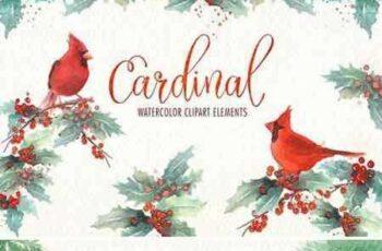1706247 Cardinal bird watercolor clipart set 1870858 4