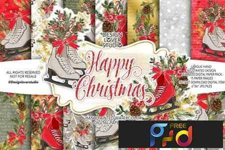 1707012 Skates Christmas digital paper pack 1956219 1