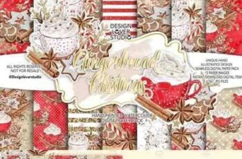 1707014 Gingerbread Christmas digital paper pack 6