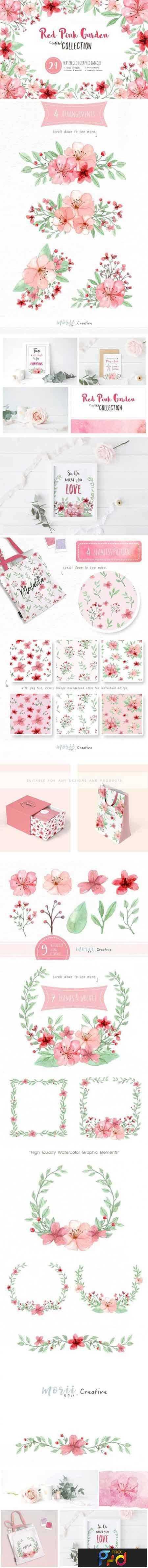 1707025 RedPink Garden Flower Graphic Set 1908827 1