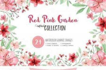 1707025 RedPink Garden Flower Graphic Set 1908827