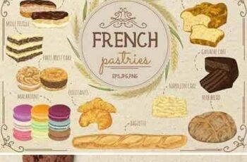 1707075 French pastries vector set 1820579 5