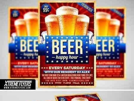 1707112 Beer Happy Hour Flyer Template 1815241 Free Download