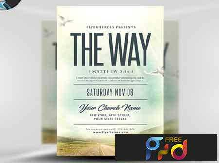 1707128 The Way Church Event Flyer Template Free Psd Download