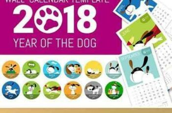 1707194 Cute 2018 Dog Wall Calendar Template 1912393 2