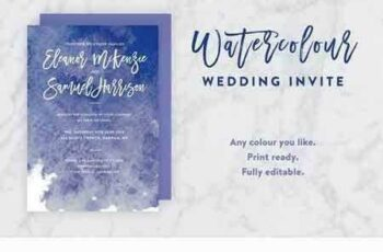 1707236 Ink Watercolor Wedding Invite PSD 1346800 2
