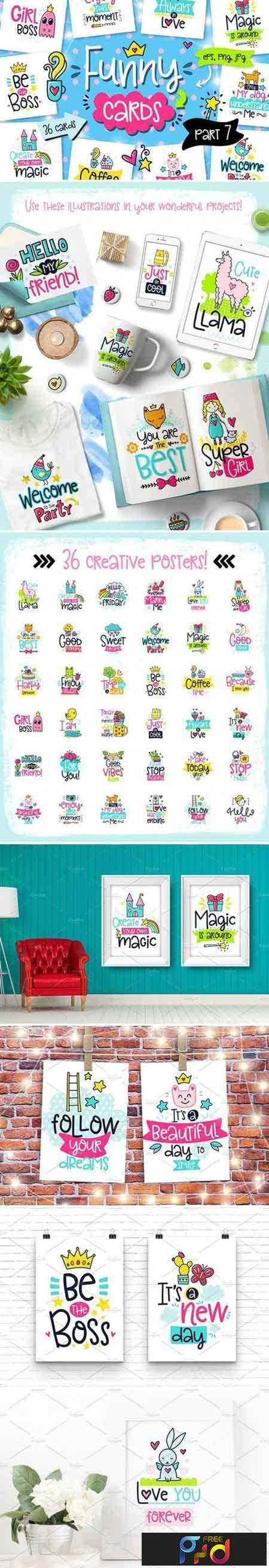1707254 36 Funny Color Cards with Quote 1941112 1