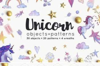 1707299 Unicorn objects and patterns set 1956065