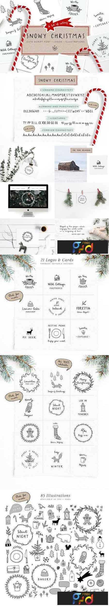 1708024 Snowy Christmas script font & logos 1840191 - FreePSDvn