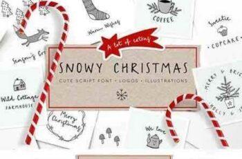 1708024 Snowy Christmas script font & logos 1840191 4