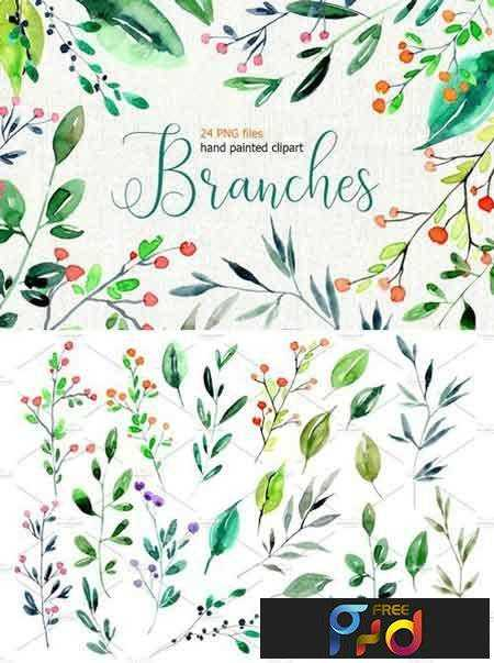 1708049 Watercolor branches, leaves PNG 2025148 1