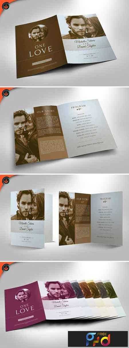 Retro Wedding Program Template FreePSDvn - Photoshop wedding program template
