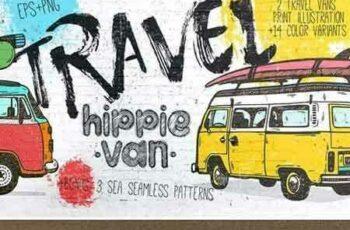 1708105 Vintage Hippie Van Print design 1882711