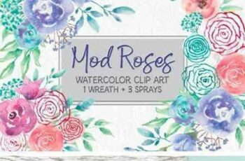 1708133 Watercolor Wreath of 'Mod' Roses 2011192 7