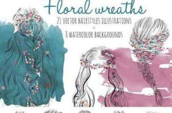 1708134 Floral wreath hairsyles vector set 2043120 3