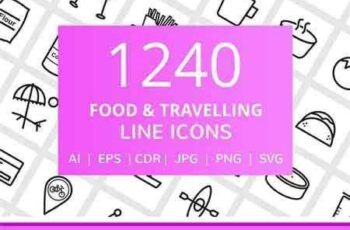 1708142 1240 Food & Travelling Line Icons 2037447 9
