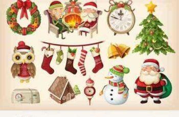 1708153 Set of colorful Christmas items 3