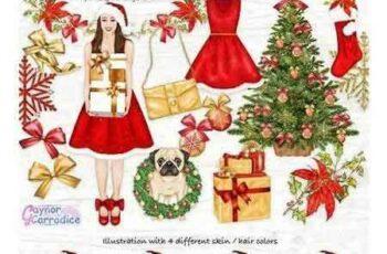 1708242 Christmas Fashion Clipart set 2018380 5