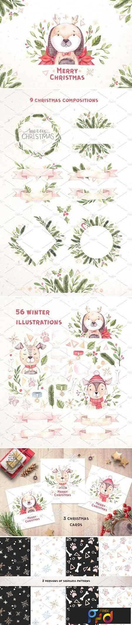 1709068 Watercolor christmas dogs kit. Xmas 2071392 1