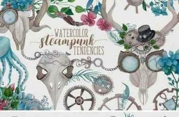 1709069 Watercolor Steampunk Graphics 2070866