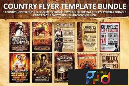 1801043 Country Flyer Template Bundle 1926936 - FreePSDvn