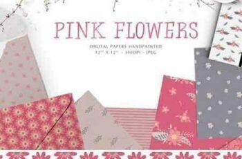 1801228 Pink flowers digital papers 2103611 4