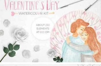 1801248 Valentine`s Day Watercolor Set 2219105 2