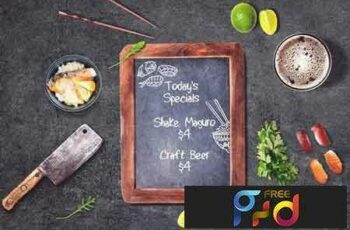 1801268 Sushi Bar Chalkboard Menu Mock-up #3 2103011 2