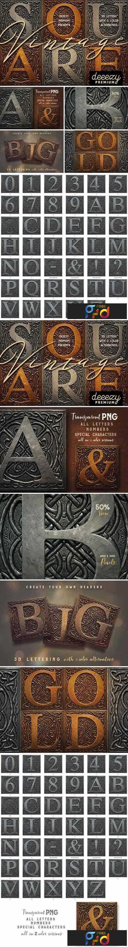 1801275 Vintage Metal Square 3D Lettering 2121791 1