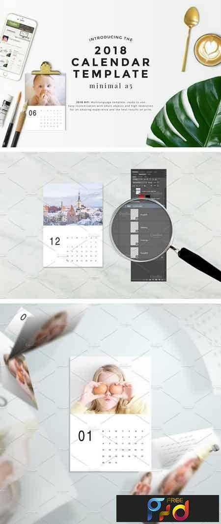 1802004 Minimal A5 2018 Calendar Template 1993985 Free Psd