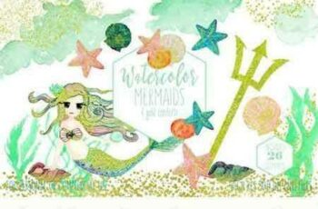 1802019 Mint Watercolor Mermaid Clipart 2167592 7