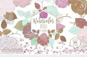 1802024 Rose Gold & Blush Watercolor Roses 2167187