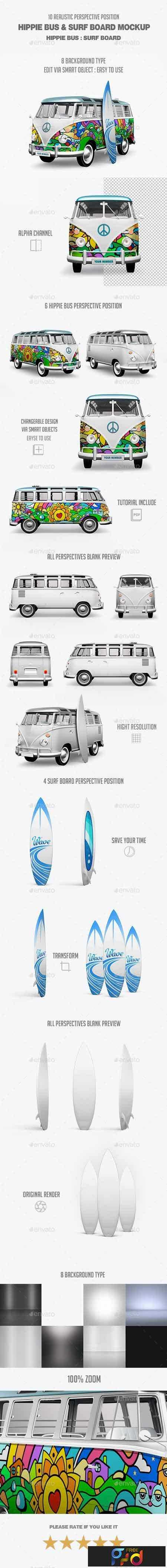 1802075 Hippie Bus & Surf Board Mock-Up 21295793 1