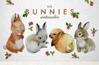 1802133 Bunnies + strawberry watercolor 2247744 4