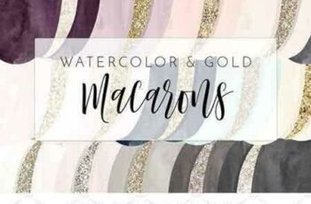1802188 Chic Watercolor & Foil Macarons 2176459 2