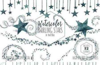 1802189 Dark Teal Blue Star Graphic Set 2176422 15