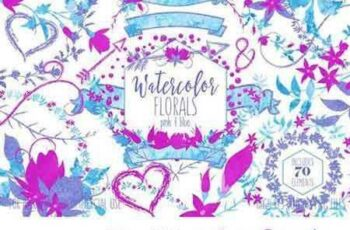 1802194 Pink & Blue Watercolor Floral Set 2176158 4