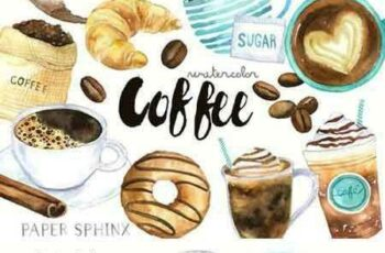 1802289 Watercolor Coffee Clipart 2205006